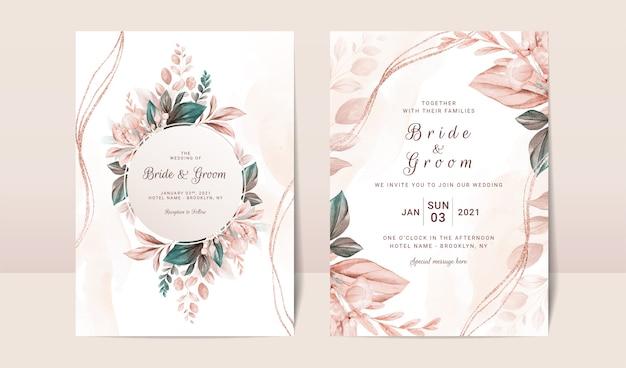 Floral bruiloft uitnodiging sjabloon set met elegante bruine bladeren decoratie