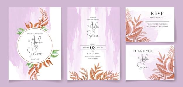 Floral bruiloft uitnodiging sjabloon set met gouden bordeauxrode bladeren met paarse waterkleur splash