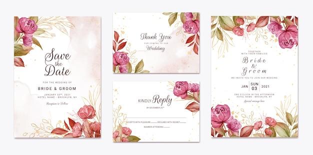Floral bruiloft uitnodiging sjabloon set met gouden bordeauxrode en bruine rozen bloemen en bladeren decoratie. botanische kaart ontwerpconcept
