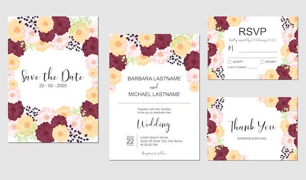 Floral bruiloft uitnodiging sjabloon set met kleurrijke bloem