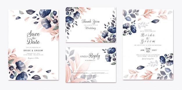 Floral bruiloft uitnodiging sjabloon set met marine en perzik aquarel rozen en bladeren decoratie. botanische kaart ontwerpconcept
