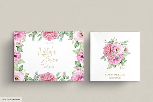 Floral bruiloft uitnodiging sjabloon set met roze rozen bloemen en bladeren