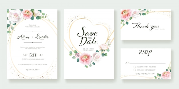 Floral bruiloft uitnodiging sjabloon.