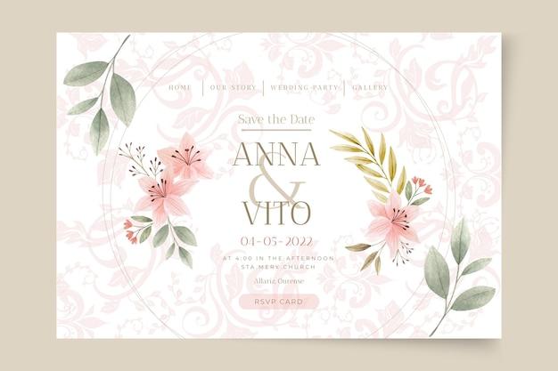 Floral bruiloft websjabloon