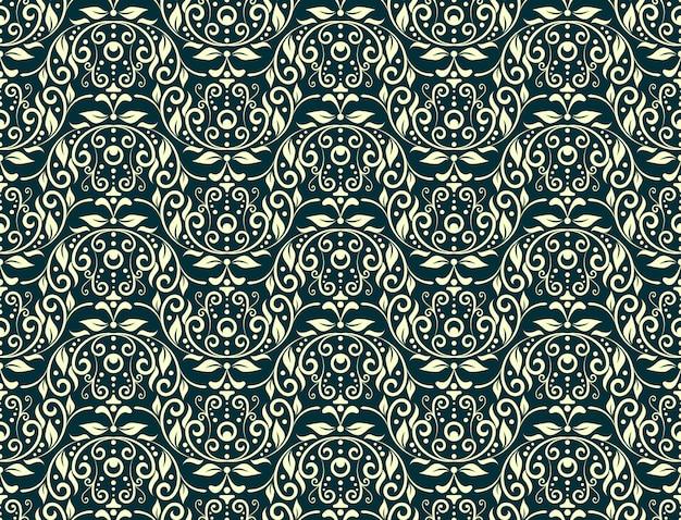 Floral carving naadloze patroon groen