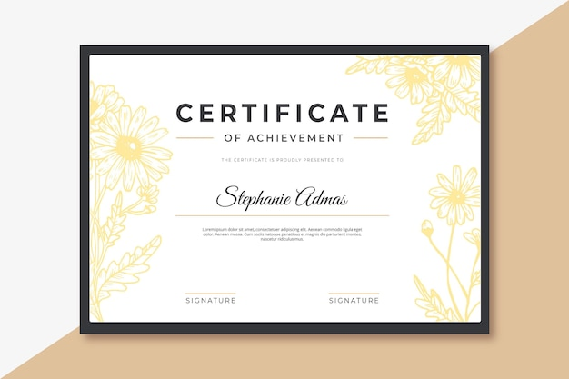 Floral certificaat sjabloonontwerp