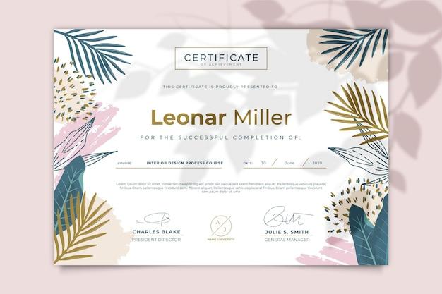 Floral certificaatsjabloon