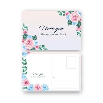 Floral charmante ansichtkaart met roos, hortensia aquarel illustratie.