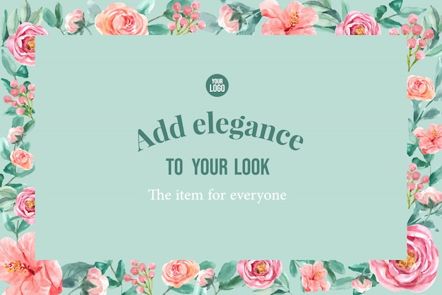 Floral charmante frame met pioenroos, lijsterbes, verlaat aquarel illustratie.