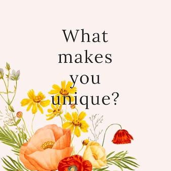 Floral citaat sjabloon illustratie met wat jou uniek maakt? tekst, geremixt van kunstwerken uit het publieke domein