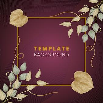 Floral creatieve ontwerpsjabloon achtergrond met gouden lijnen