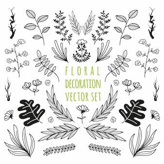 Floral decoratie element vector set