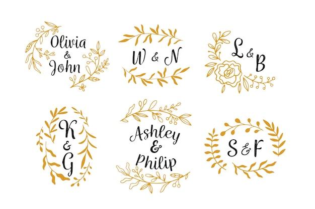 Floral design bruiloft monogrammen