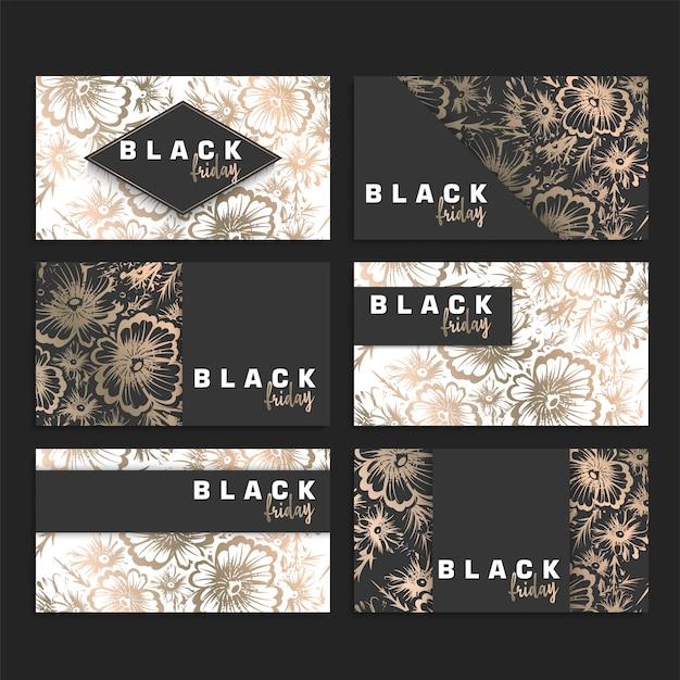 Floral design kaartenset voor zwarte vrijdag verkoop,