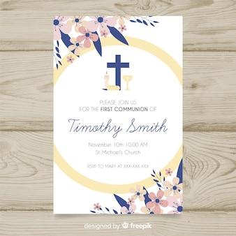 Floral eerste communie uitnodiging