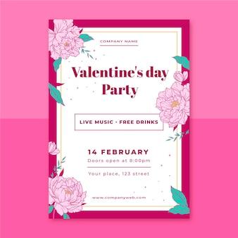 Floral elegante valentijnsdag poster