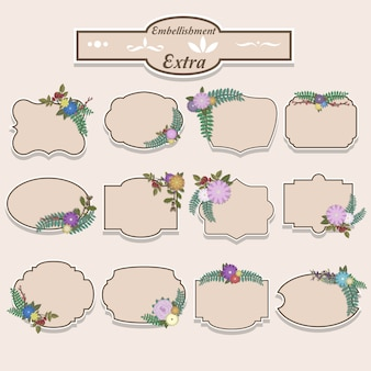 Floral embellishment labels-collectie