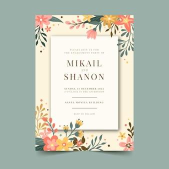Floral engagement uitnodiging sjabloon
