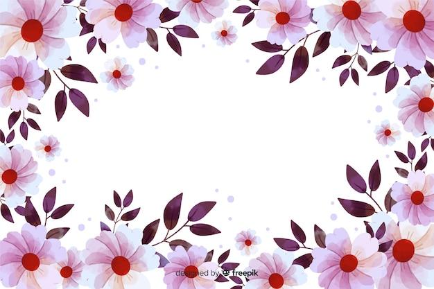 Floral frame achtergrond aquarel