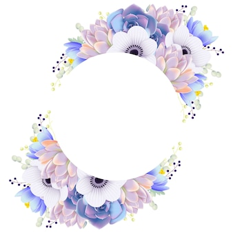 Floral frame achtergrond met anemone bloem en succulent