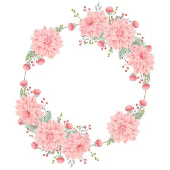 Floral frame achtergrond met dahlia bloem