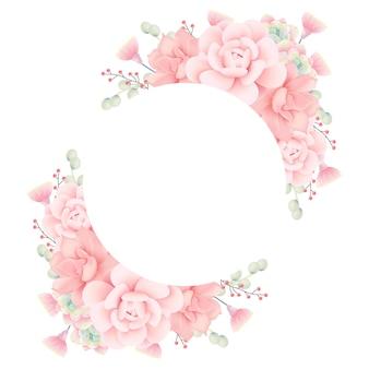 Floral frame achtergrond met vetplanten