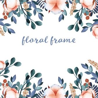 Floral frame aquarel katoen bloem elementen op witte achtergrond