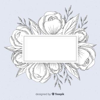 Floral frame banner realistische hand getekend op blauwe achtergrond