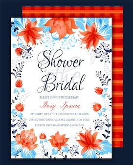 Floral frame bruids douche uitnodiging of weedding-kaart