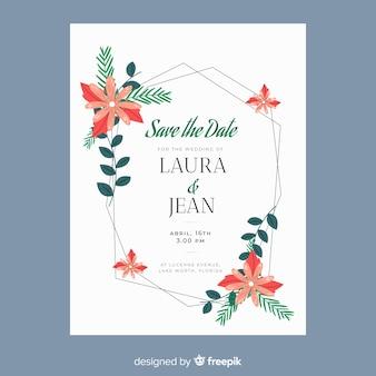 Floral frame bruiloft uitnodiging sjabloon