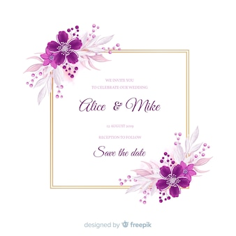 Floral frame bruiloft uitnodigingskaart