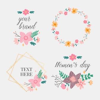 Floral frame collectie. set van schattige retro bloemen gerangschikt in een vorm van de krans, perfect voor huwelijksuitnodigingen en verjaardagskaarten