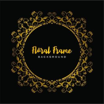 Floral frame decoratief in gouden kleur voor luxe ontwerpen