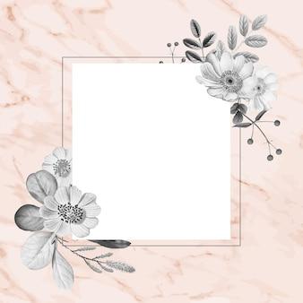 Floral frame hand getekende vintage illustratie