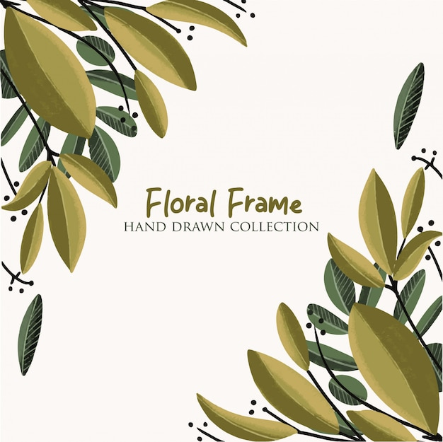 Floral frame hand getrokken collectie