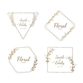 Floral frame ingesteld voor bruiloft vector.