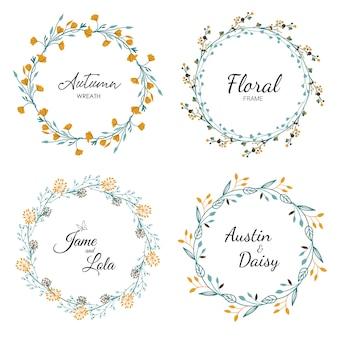 Floral frame ingesteld voor bruiloft
