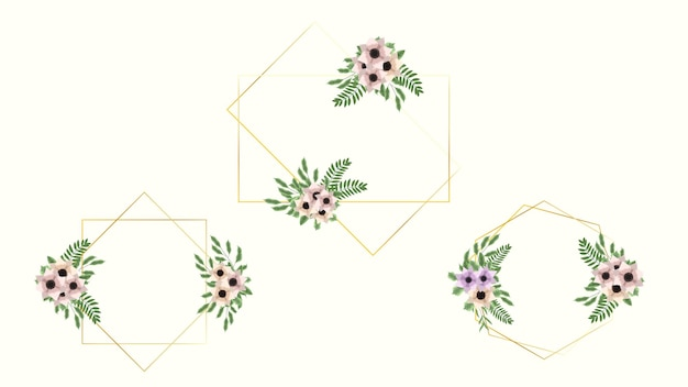 Floral frame kaartsjabloon met bloemen label voor huwelijksuitnodiging