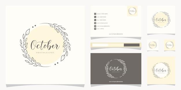 Floral frame-logo met logo-ontwerp voor visitekaartjes