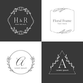 Floral frame logo sjabloon in zwart-wit
