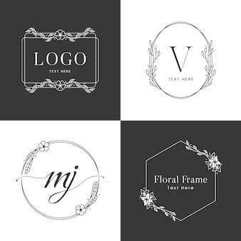 Floral frame logo sjabloon in zwart-wit