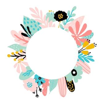 Floral frame met blauwe en roze bladeren van tropische bomen, abstracte planten, bladeren, bloemen in pastelkleuren. voor uitnodigingen, kaarten voor trouwdag, moederdag, verjaardag, vrouwendag. vectorillustratie