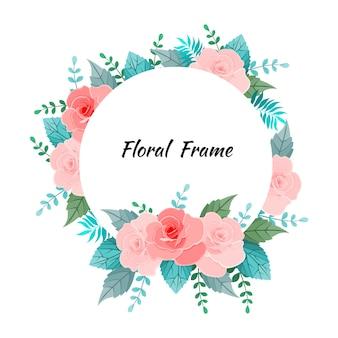 Floral frame met bloem en bladeren