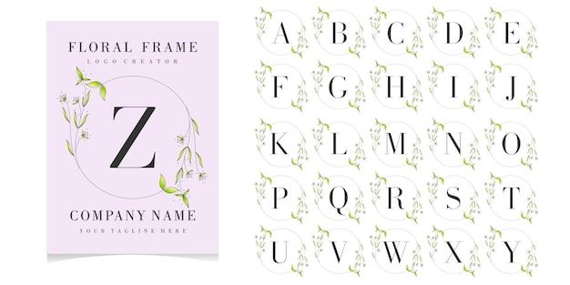 Floral frame met eerste kaartcollectie