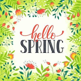 Floral frame met hallo lente tekst. romantisch sjabloon voor wenskaarten