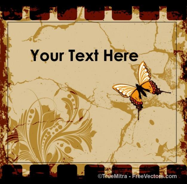 Floral frame met vlinder