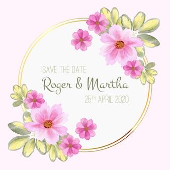 Floral frame ontwerp voor bruiloft evenement
