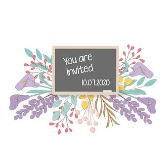 Floral frame schoolbord uitnodigingskaart