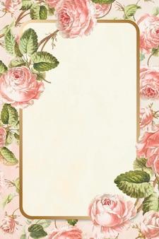 Floral frame vector vintage hand getrokken