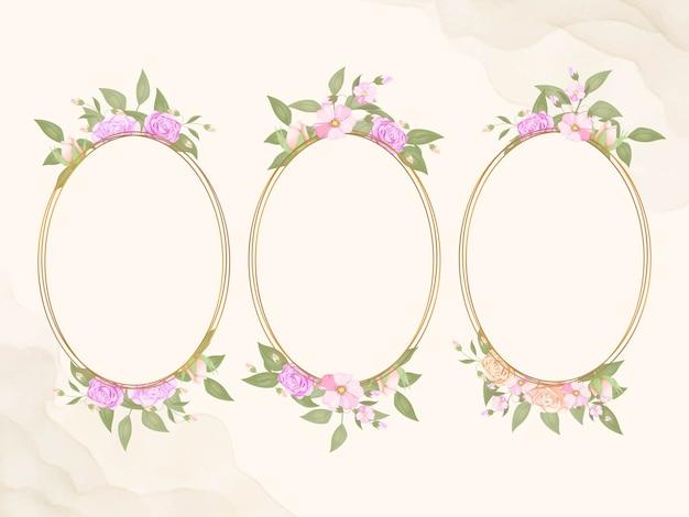Floral frame voor bruiloft uitnodiging sociale media sjabloon